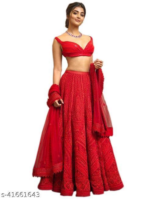 Women's Red Georgette Embroidery Semi-Stitched Semi-Stitched Lehenga Choli