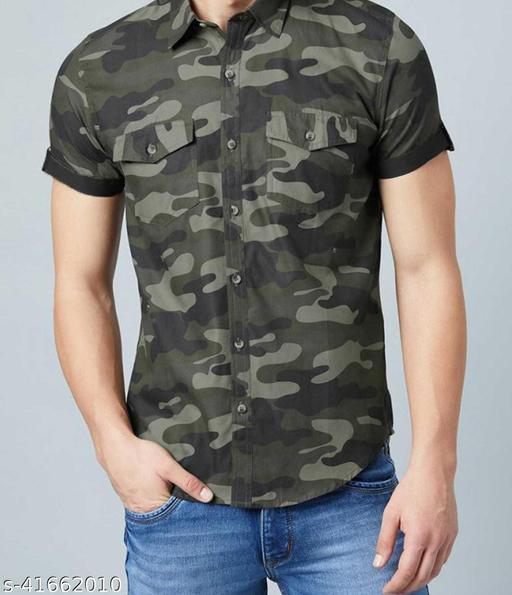 Army Print Pure Cotton Half Sleeve Shirt Originals (Grey)