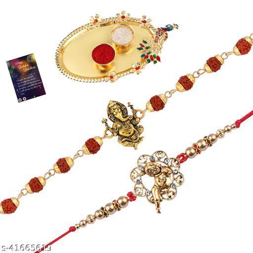 "Rakhi Rudraksh ""Ganeshji"" With Designer ""BalGopal"" Rakhi For Bhaiya With Roli Chawal And Greeting Card 1 Kankawati Pooja Thali"