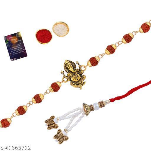 """Rakhi Rudraksh """"Ganeshji"""" With Bhabhi Rakhi """"Butterfly"""" With Roli Chawal And Greeting Card"""