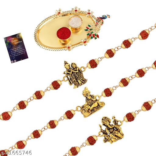 Rudraksh 3 Rakhi Combo Stylish  For Bhai With Roli Chawal,Greeting Card 1 Pooja Thali