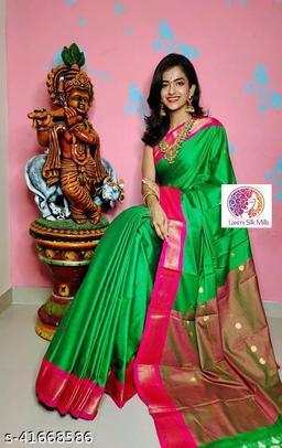 Laxmi silk Green and Pink Paithani Design Cotton silk saree