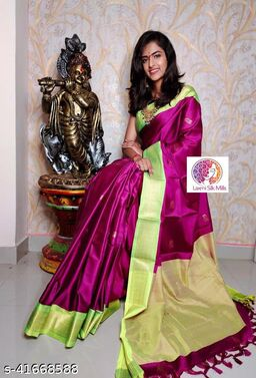 Laxmi silk Purple and Lemon Paithani Design Cotton silk saree