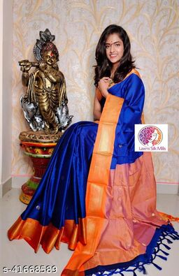 Laxmi silk Blue and Orange Paithani Design Cotton silk saree