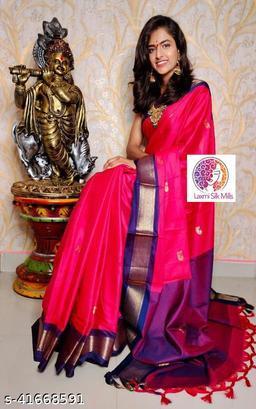 Laxmi silk Pink and Blue Paithani Design Cotton silk saree