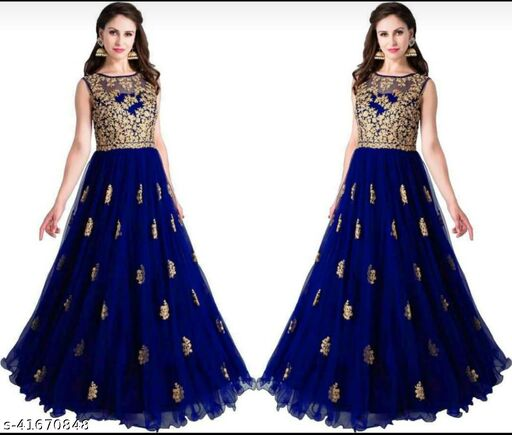 new fabulous and attractive heavy net embroidery work gown for woman