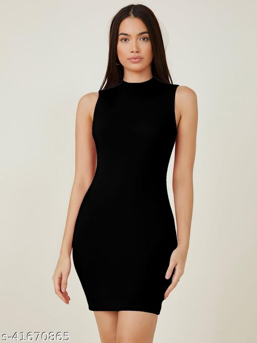 Aahwan Solid Mock-Neck Bodycon Dress for Women & Girls