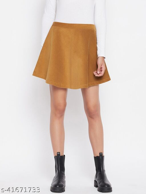Weave and Knits Tan cordruoy circular skirt