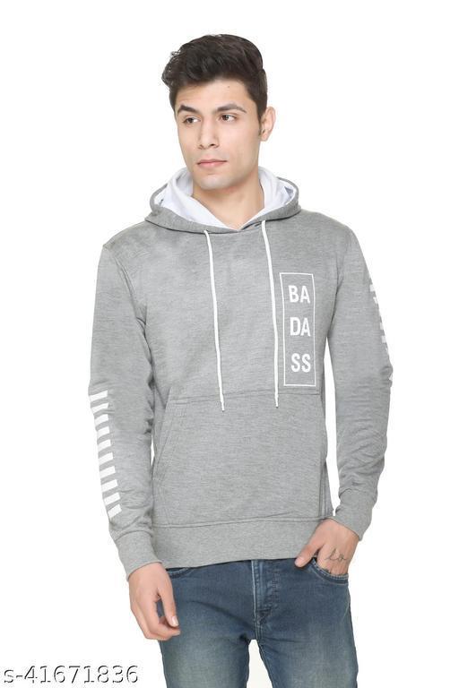 Caracas Winter Wear Casual Span Fleece Hooded Strip Sweatshirt For Men's