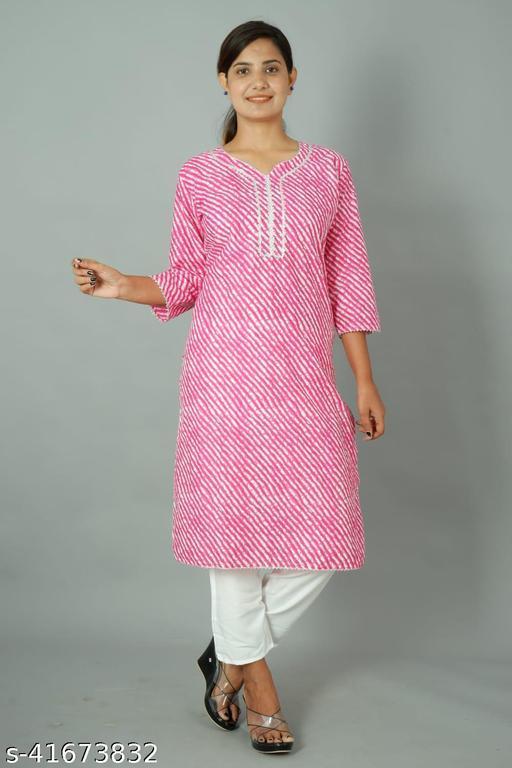 Jaipur Print Cotton Kurta With Rayon Pant
