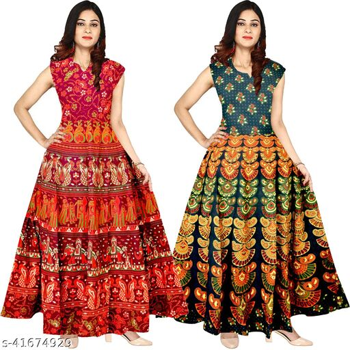 Cotton Long Maxi Gown for Women Girls Pack of 2