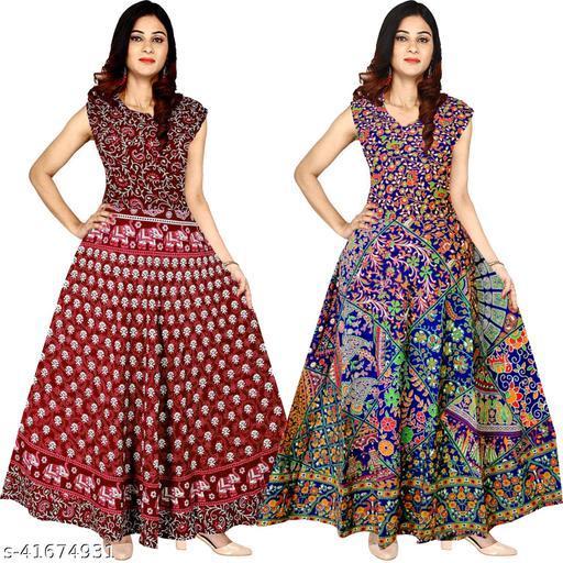 Cotton Women's Jaipuri Floral Long Maxi Dress (Multicolour, Free Size) Pack of 2