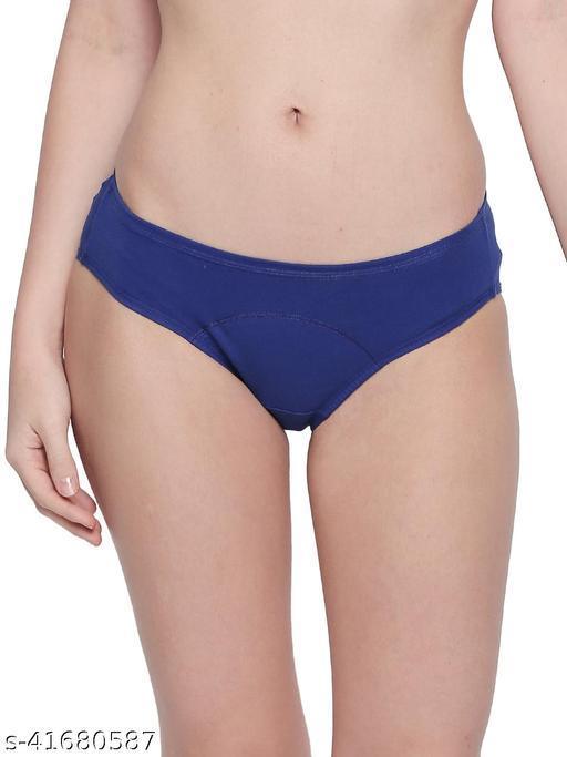 Women Hipster Aqua Blue Cotton Blend Panty