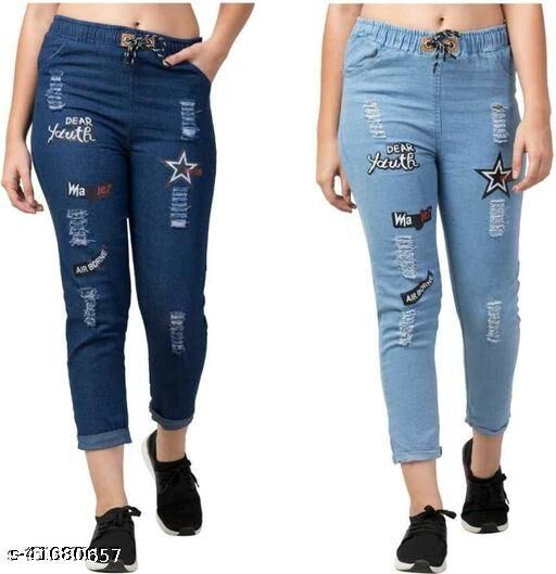 Trendy Fashionable Joggers Fit Solid Women Denim Classy combo Jeans For Girls (pack of 2)