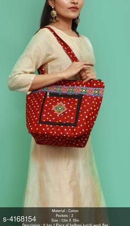 Trendy Women's Red Fabric Handbag
