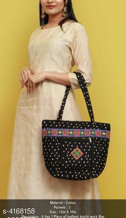 Classy Women's Black Fabric Handbag