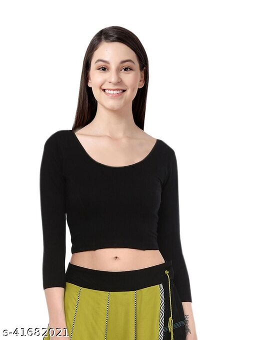 Lycra Streachable Plain Full Sleeve Woman's Blouse