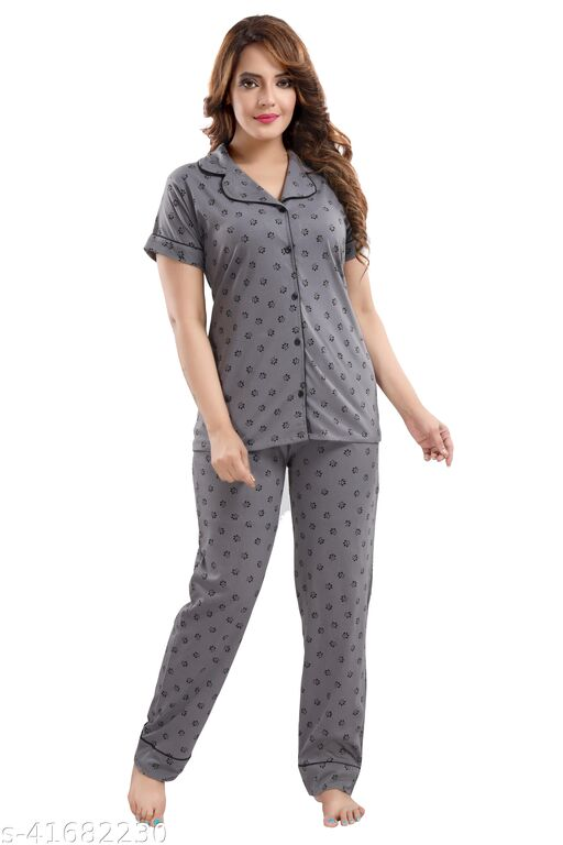 WOMENOIRE Women's Cotton Printed Night Suits