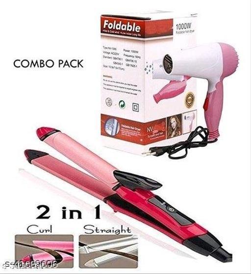 Roxfire Foldable Hair Dryer for Women and Men And 2in1 Hair Straightner Curler