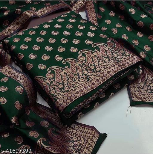 SERONA FABRICS Women's Chanderi Jacquard Work Top And Heavy Duppata Exclusive Dress Material With Bottom