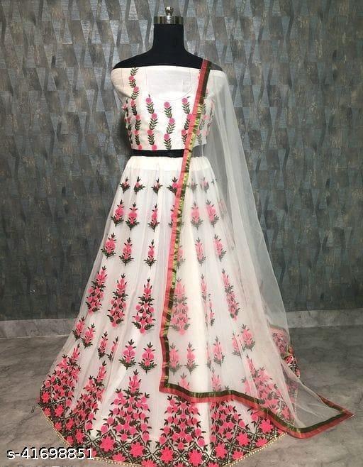 Gorgeous Bangalori Silk Women's Lehengas (White)