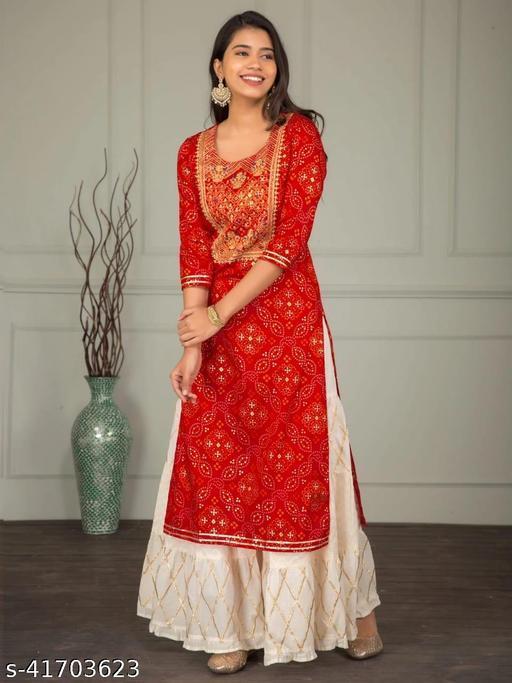 Womens And Girls Rayon Printed Stright Kurta With Sharara Set_Red