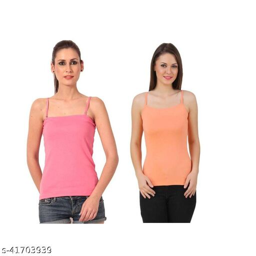 TunTun Women / Girl/ Teenager Spaghetti Camisole Vest Top Inner Wear Camis/ shameej  with Adjustable and Detachable Strap ,Multicolor,  Pack of 2