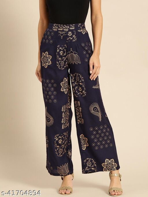 Rangmayee Women's Navy Blue and Gold Floral Printed Palazzo