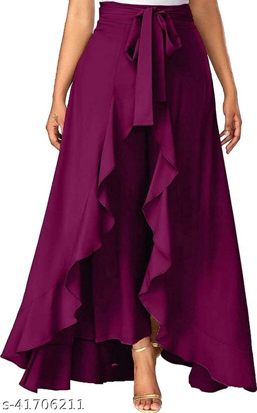 TiyansiCreation Flared Women Crepe Chiffon Trousers Skirts