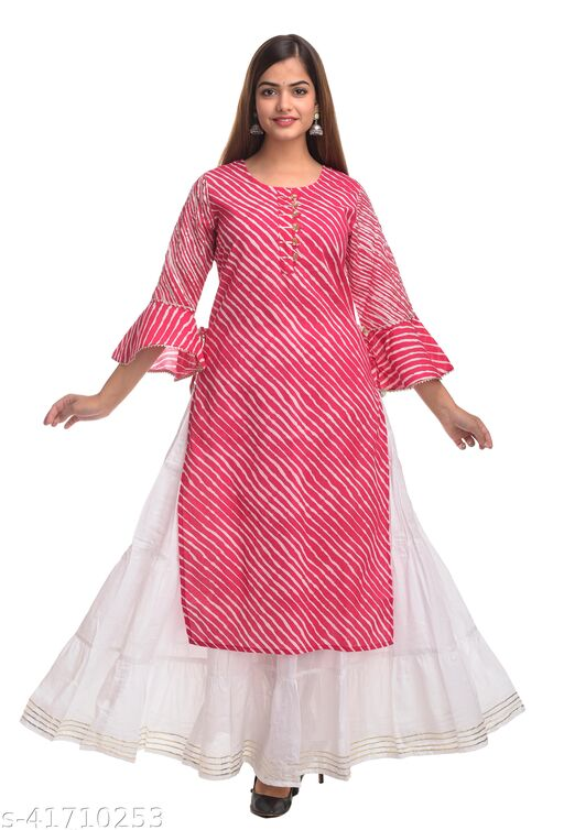 SKARLEY Cotton Blend Leheriya Print Straight kurta For Women/Girls/Ladies (Pink)