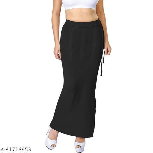 Comfort Look Women's Black Lycra Microfiber Saree Petticoats Shapewear
