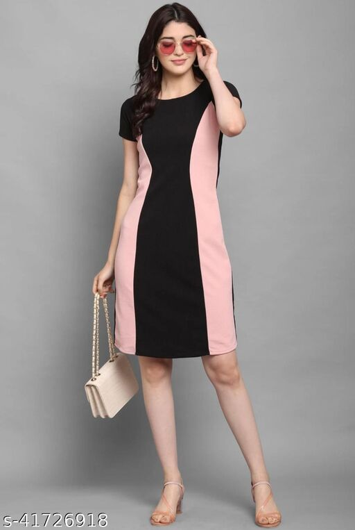 THE BEBO COLOR BLOCKED NETDOTED POLYESTER DRESS
