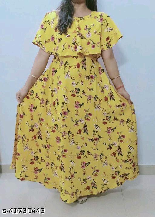 Havyaa American Crepe Yellow gown