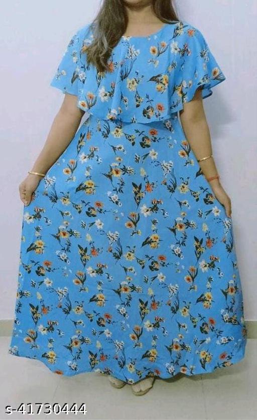 Havyaa American Crepe Blue Printed gown