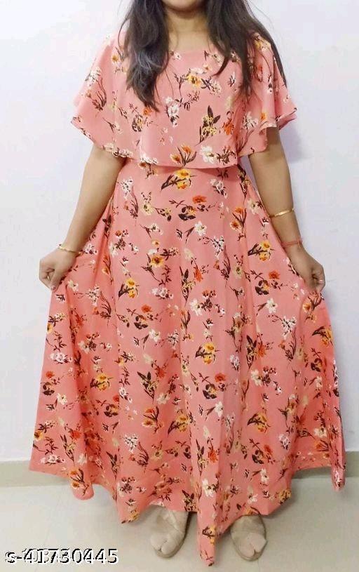 Havyaa American Crepe Peach Printed gown
