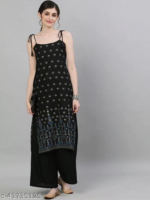 Made In Desi Women's Printed Rayon Straight Kurti
