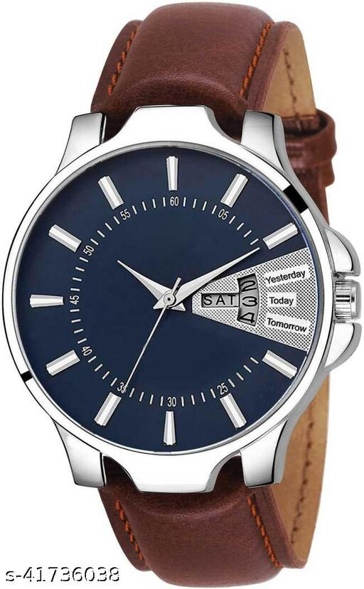 Seetu Blue day date silver case brown belt Round dial watches for men Pack of 01watch