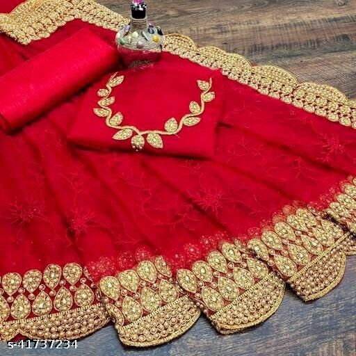 Rebe  Saree Of Heavy Demanded Women's Net Designer Moti Work Saree With Blouse,  Wedding and Party  and Festive Wear.