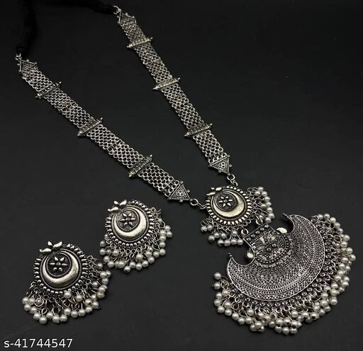 Oxidized Silver Color Long Necklace Set With Earings