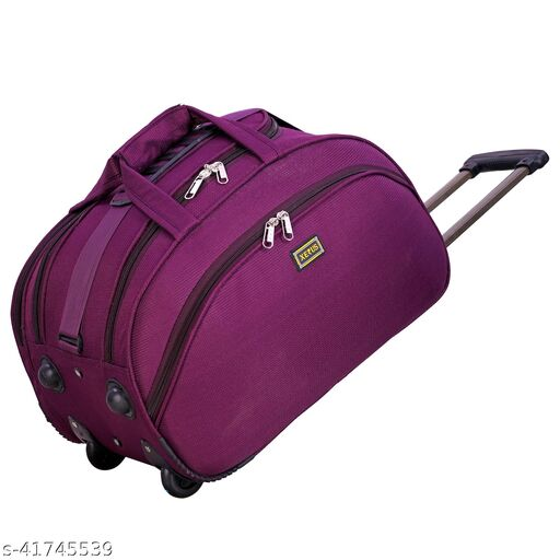 Unisex Trolley Bag (55 Cm) Travel Trolley Duffel Bag/Duffel Strolley Bag Side Corner Guard Protected With Smooth Maneuvareable 2 Wheels (65 L Duffel With Wheels (Strolley) - Pack of 1)