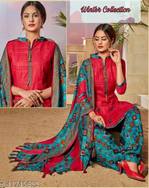 Latest Designer Pashmina Woolen Embroidery Suit With Full Size Shawl