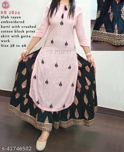 Stylish Rayon Printed Kurti With Skirt