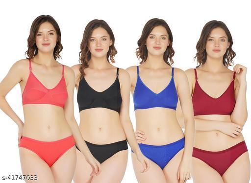 Women Solid Multicolor Cotton Lingerie Set (Pack of 4)