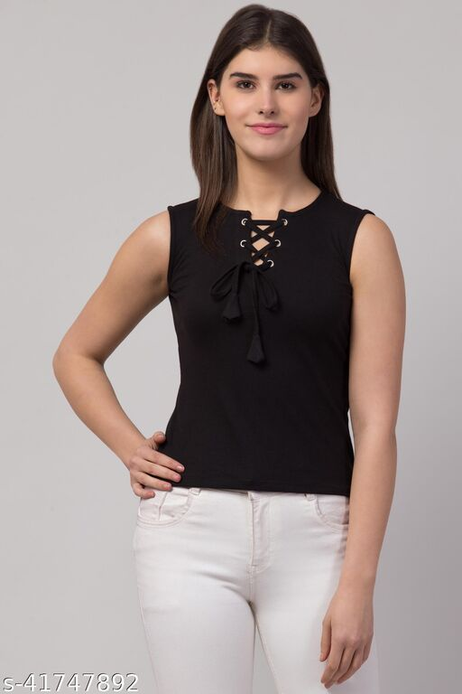 Sleeveless Regular Length Trendy Women Top