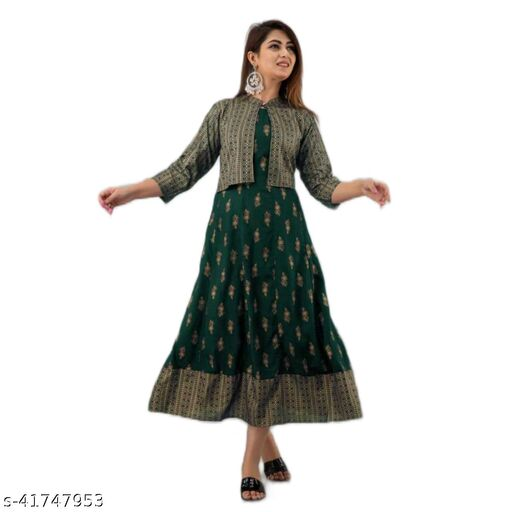 Rayon Gold Printed Anarkali Gown With Rayon Printed Crop Jacket