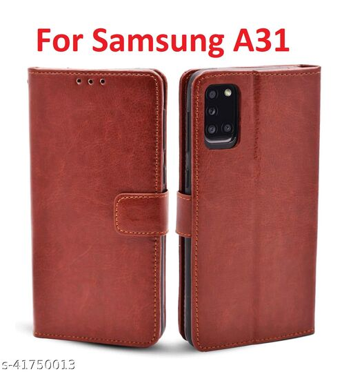 KHR Flip Cover For Samsung Galaxy A31 Flip Cover Magnetic Leather Wallet Case Shockproof TPU for Samsung Galaxy A31 (Brown)
