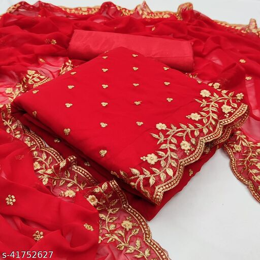 EMBROIDERY WORK KHADI COTTON Dress Material Suit  For Women