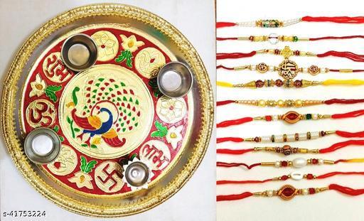 combo of pooja thali with 12 pcs of rakhi with roli chaval pack of 15 pcs Rakhi Combos