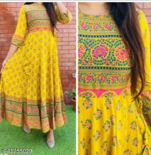 Yagini creation Beautiful, Styliesh and party wear anarkali Kurti in reyon fabric
