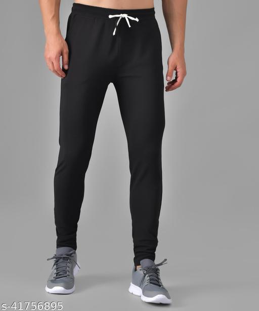 Purser Stylish Men's Black Color Polyester Blend Trouser
